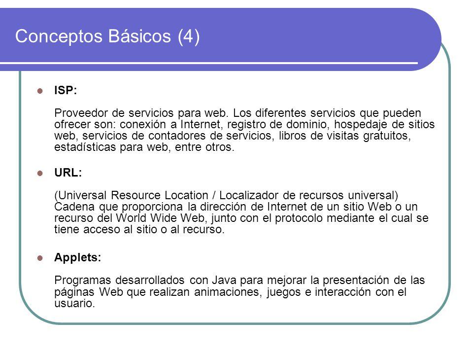 Conceptos Básicos (4) ISP: Proveedor de servicios para web. Los diferentes servicios que pueden ofrecer son: conexión a Internet, registro de dominio,