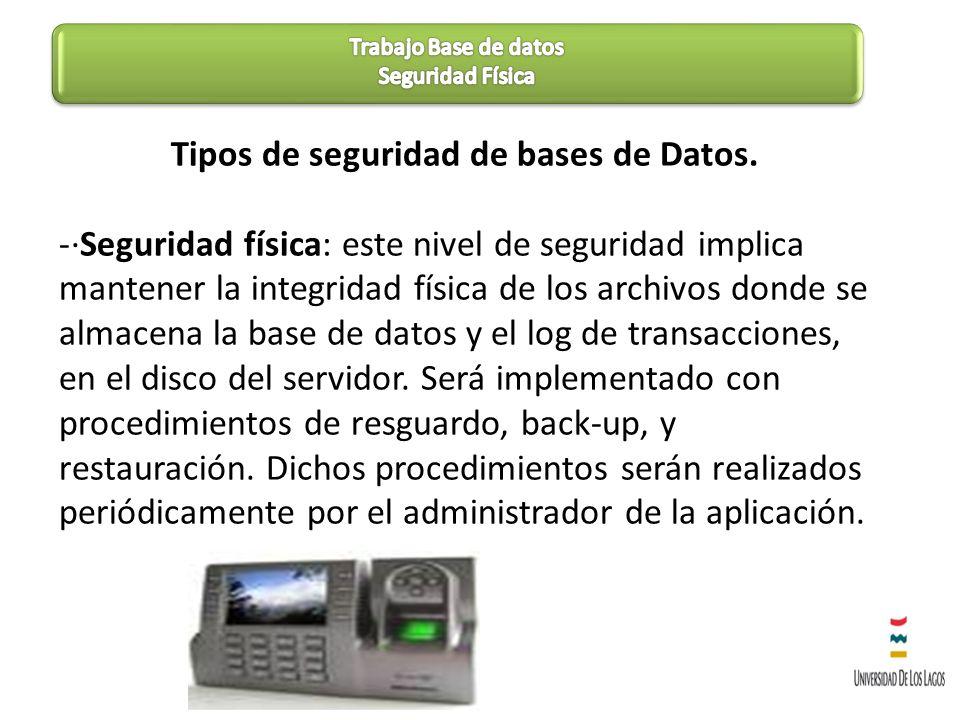 Tipos de seguridad de bases de Datos. -·Seguridad física: este nivel de seguridad implica mantener la integridad física de los archivos donde se almac