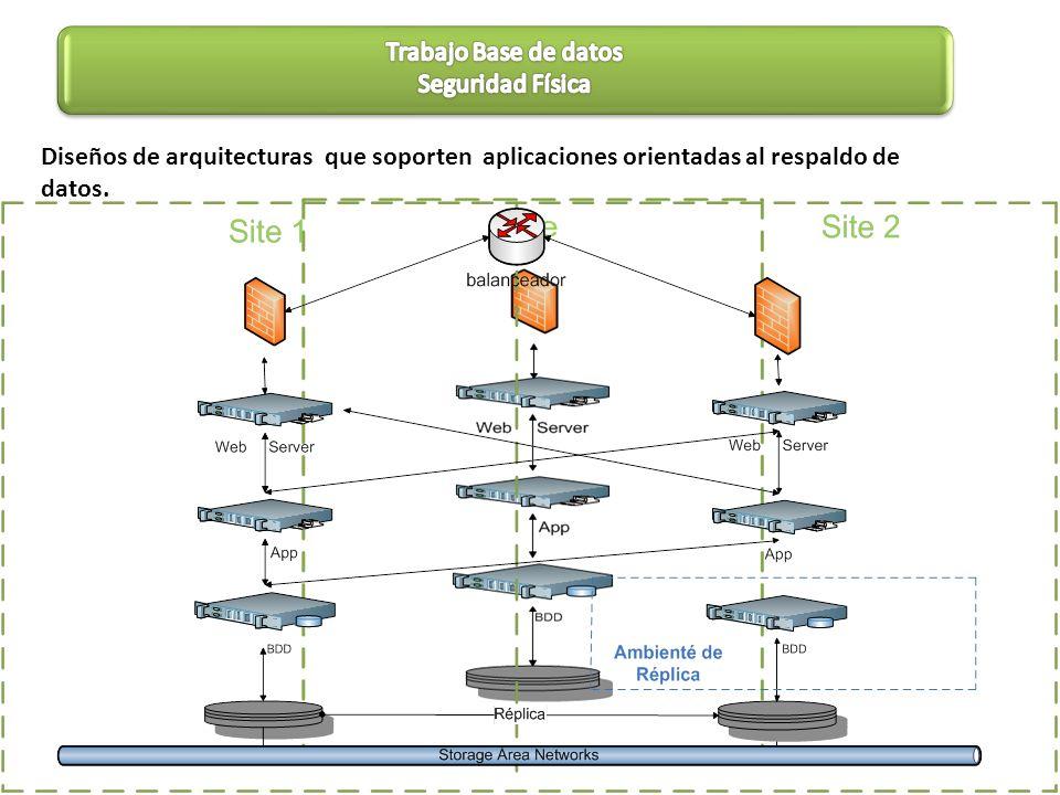 Diseños de arquitecturas que soporten aplicaciones orientadas al respaldo de datos.