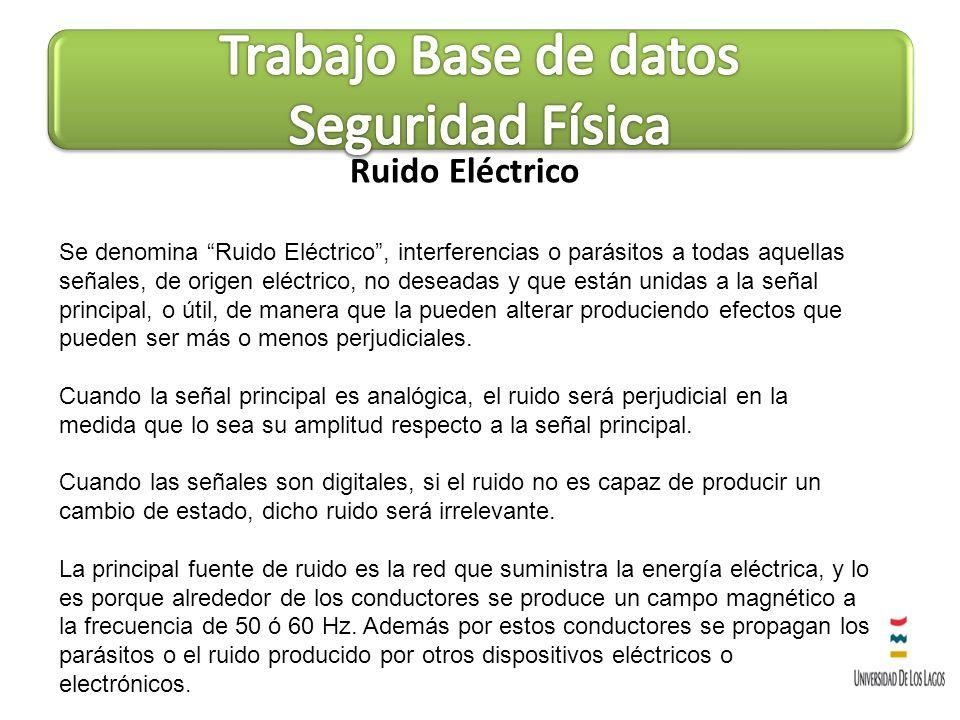 Ruido Eléctrico Se denomina Ruido Eléctrico, interferencias o parásitos a todas aquellas señales, de origen eléctrico, no deseadas y que están unidas