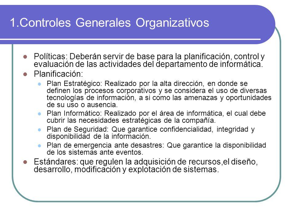 1.Controles Generales Organizativos Políticas: Deberán servir de base para la planificación, control y evaluación de las actividades del departamento