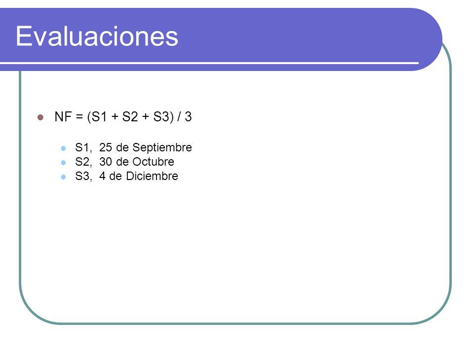 Evaluaciones NF = (S1 + S2 + S3) / 3 S1, 25 de Septiembre S2, 30 de Octubre S3, 4 de Diciembre