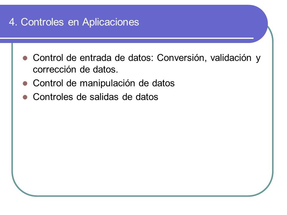 4. Controles en Aplicaciones Control de entrada de datos: Conversión, validación y corrección de datos. Control de manipulación de datos Controles de