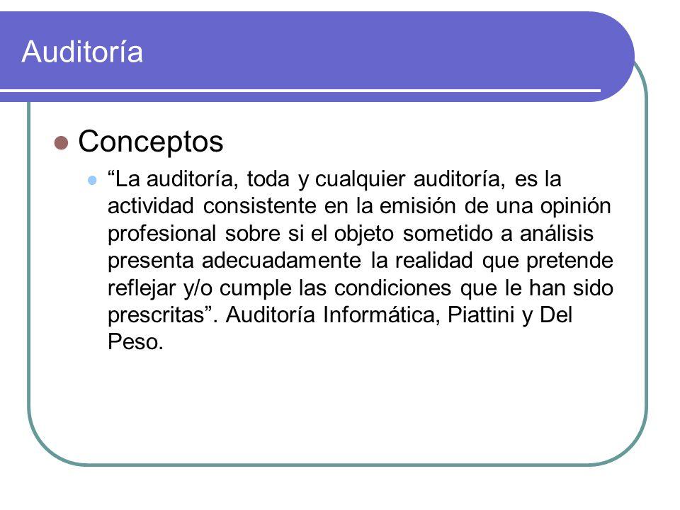 Auditoría Conceptos La auditoría, toda y cualquier auditoría, es la actividad consistente en la emisión de una opinión profesional sobre si el objeto