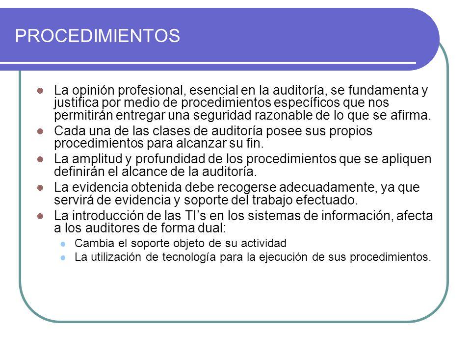 PROCEDIMIENTOS La opinión profesional, esencial en la auditoría, se fundamenta y justifica por medio de procedimientos específicos que nos permitirán