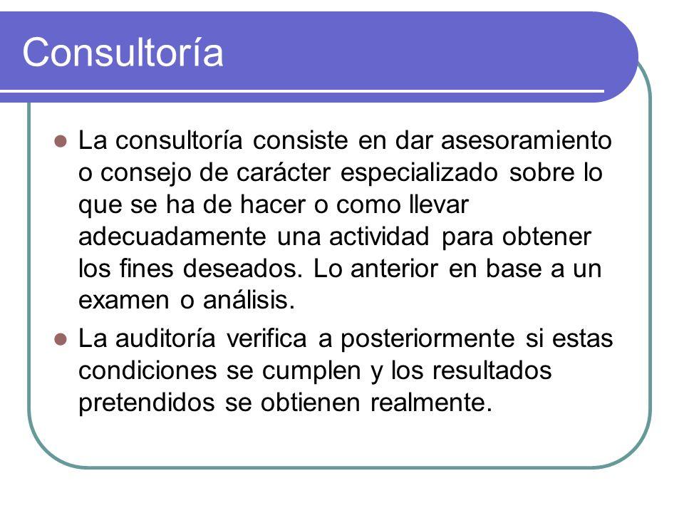 Consultoría La consultoría consiste en dar asesoramiento o consejo de carácter especializado sobre lo que se ha de hacer o como llevar adecuadamente u