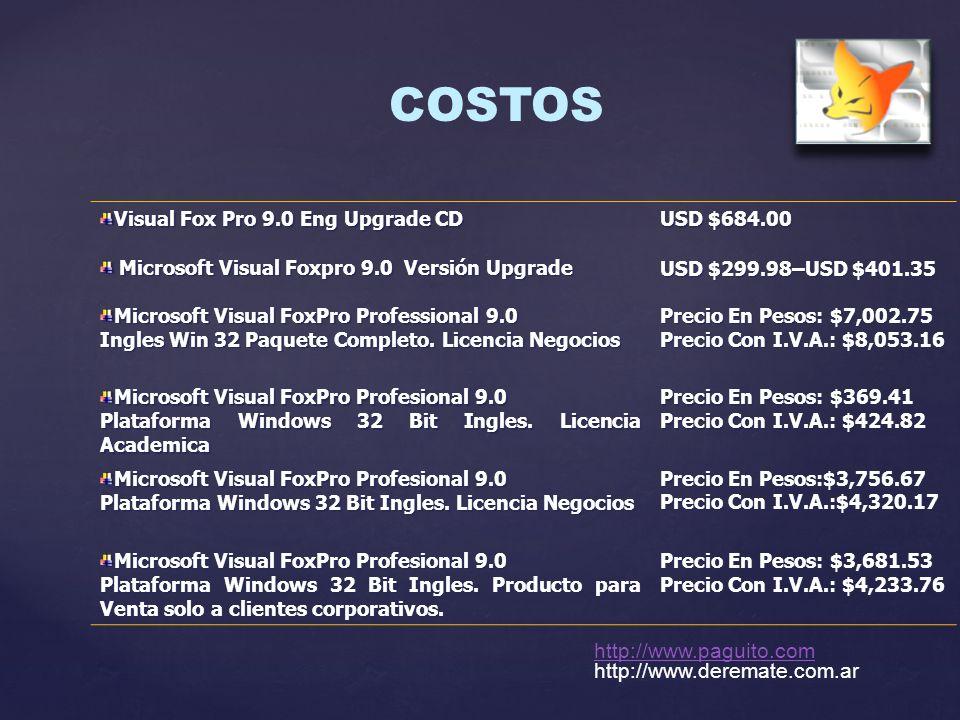 COSTOS Visual Fox Pro 9.0 Eng Upgrade CD USD $684.00 USD $684.00 Microsoft Visual Foxpro 9.0 Versión Upgrade USD $299.98–USD $401.35 Microsoft Visual