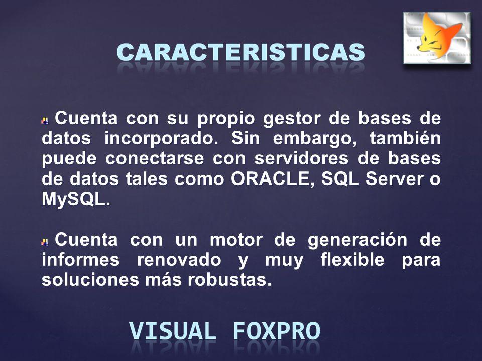 Cuenta con su propio gestor de bases de datos incorporado. Sin embargo, también puede conectarse con servidores de bases de datos tales como ORACLE, S