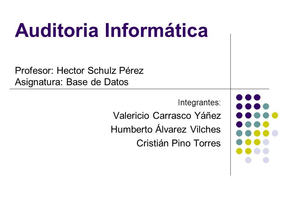 Auditoria Informática Profesor: Hector Schulz Pérez Asignatura: Base de Datos Integrantes: Valericio Carrasco Yáñez Humberto Álvarez Vilches Cristián