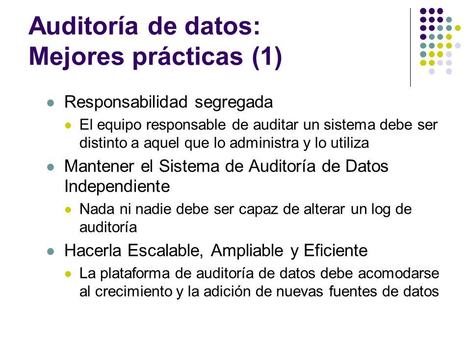 Auditoría de datos: Mejores prácticas (1) Responsabilidad segregada El equipo responsable de auditar un sistema debe ser distinto a aquel que lo admin
