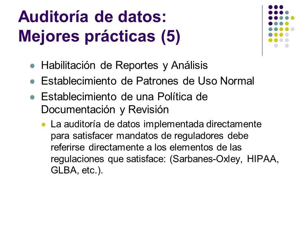 Auditoría de datos: Mejores prácticas (5) Habilitación de Reportes y Análisis Establecimiento de Patrones de Uso Normal Establecimiento de una Polític