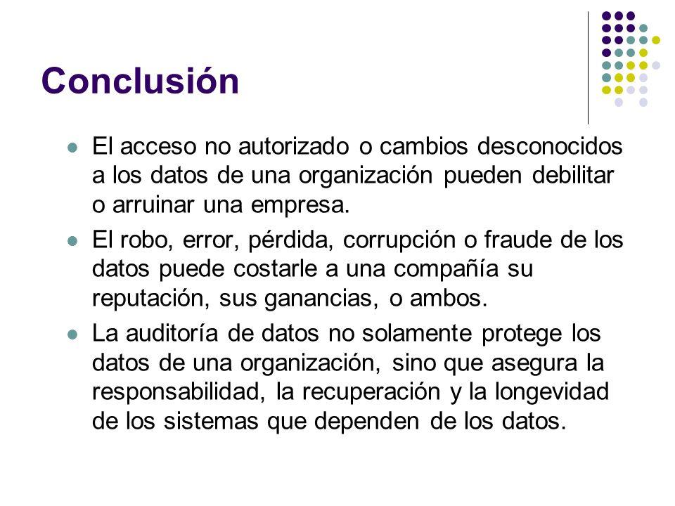Conclusión El acceso no autorizado o cambios desconocidos a los datos de una organización pueden debilitar o arruinar una empresa. El robo, error, pér