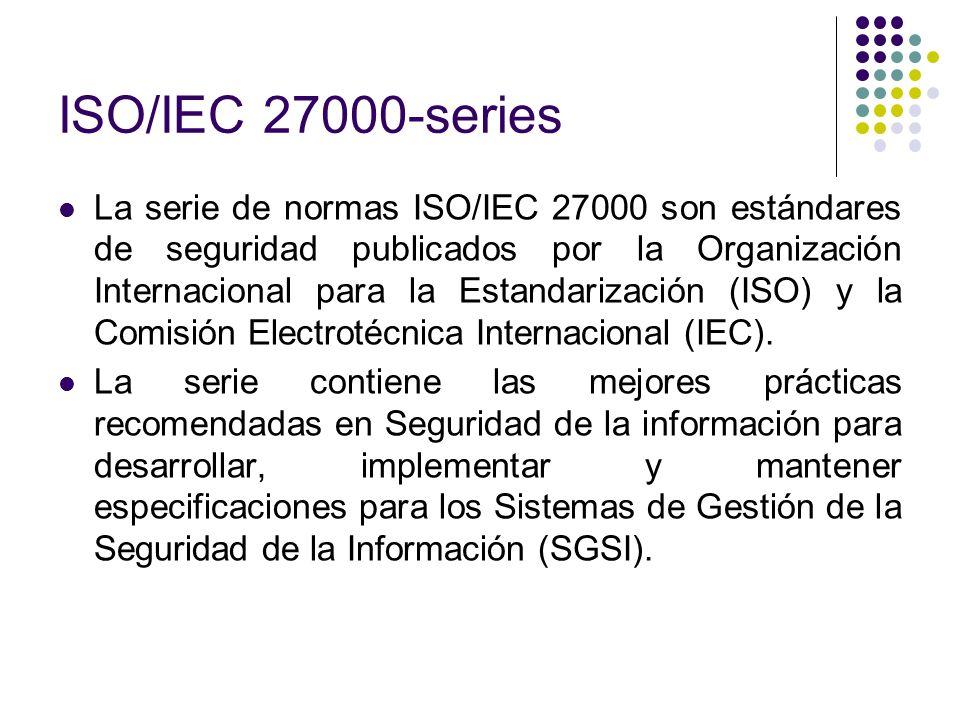 ISO/IEC 27000-series La serie de normas ISO/IEC 27000 son estándares de seguridad publicados por la Organización Internacional para la Estandarización