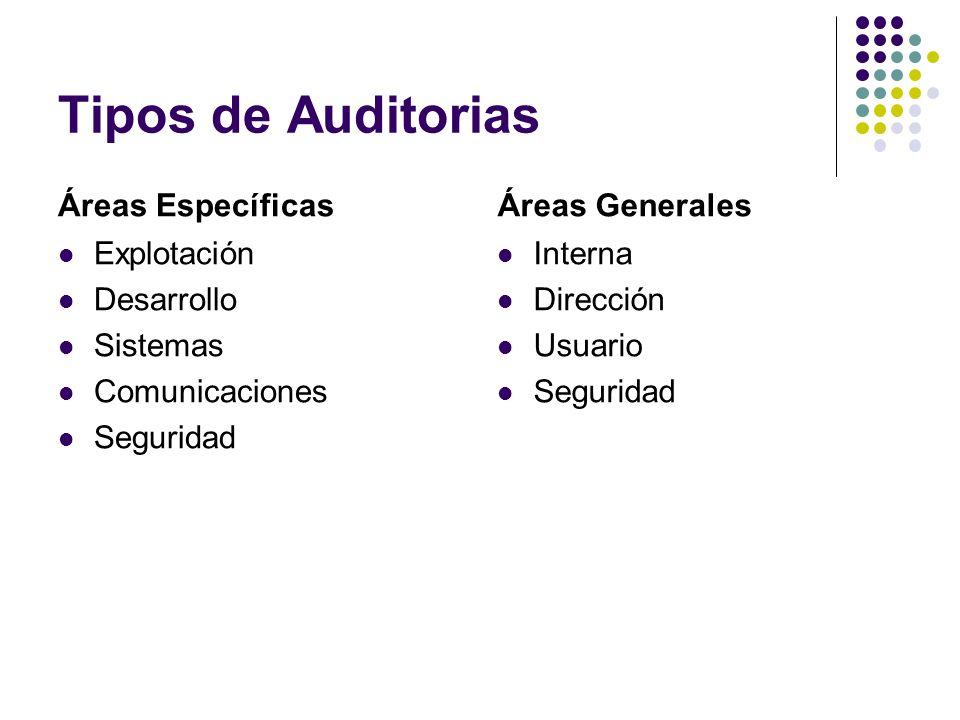 Tipos de Auditorias Áreas Específicas Explotación Desarrollo Sistemas Comunicaciones Seguridad Áreas Generales Interna Dirección Usuario Seguridad