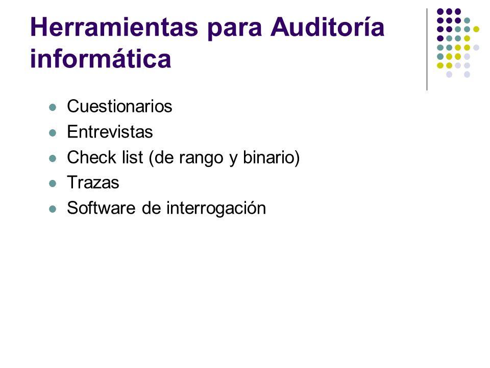Herramientas para Auditoría informática Cuestionarios Entrevistas Check list (de rango y binario) Trazas Software de interrogación