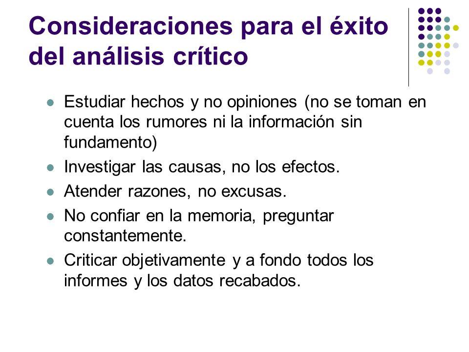 Consideraciones para el éxito del análisis crítico Estudiar hechos y no opiniones (no se toman en cuenta los rumores ni la información sin fundamento)