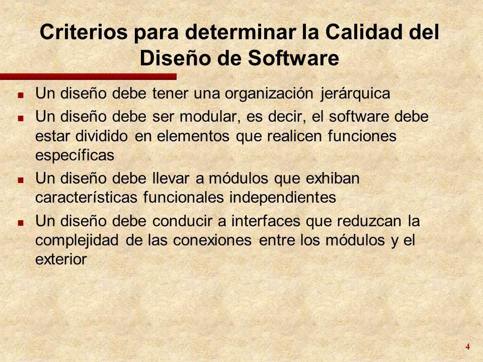 4 Criterios para determinar la Calidad del Diseño de Software n Un diseño debe tener una organización jerárquica n Un diseño debe ser modular, es deci