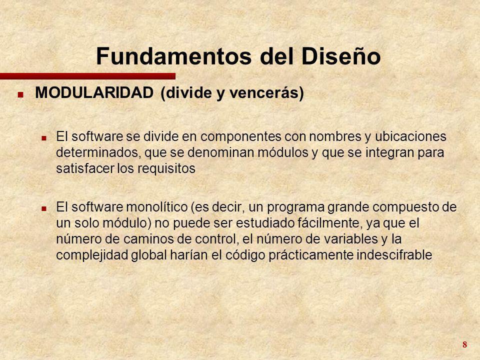 8 Fundamentos del Diseño n MODULARIDAD (divide y vencerás) n El software se divide en componentes con nombres y ubicaciones determinados, que se denom