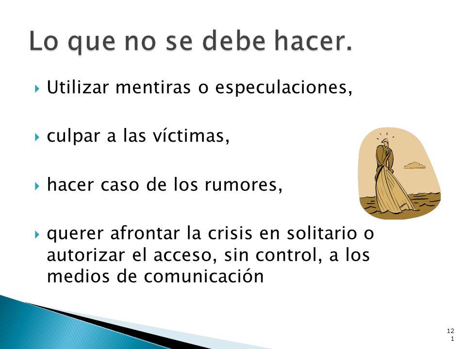 Utilizar mentiras o especulaciones, culpar a las víctimas, hacer caso de los rumores, querer afrontar la crisis en solitario o autorizar el acceso, si
