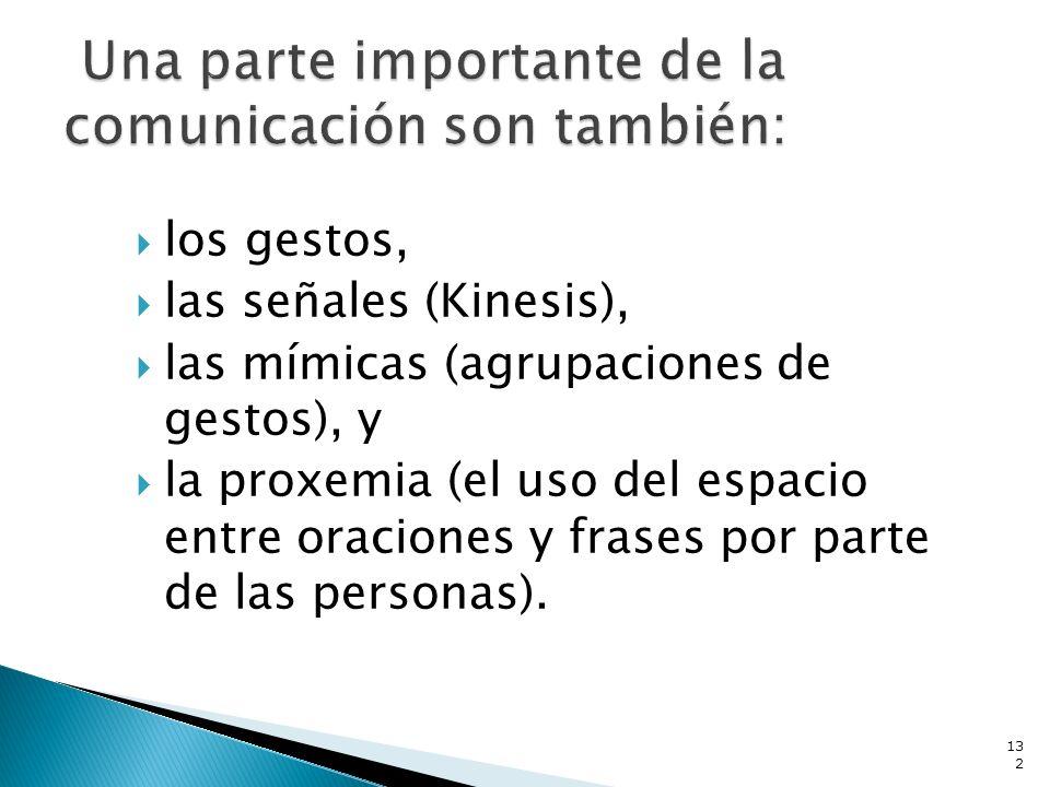 los gestos, las señales (Kinesis), las mímicas (agrupaciones de gestos), y la proxemia (el uso del espacio entre oraciones y frases por parte de las p