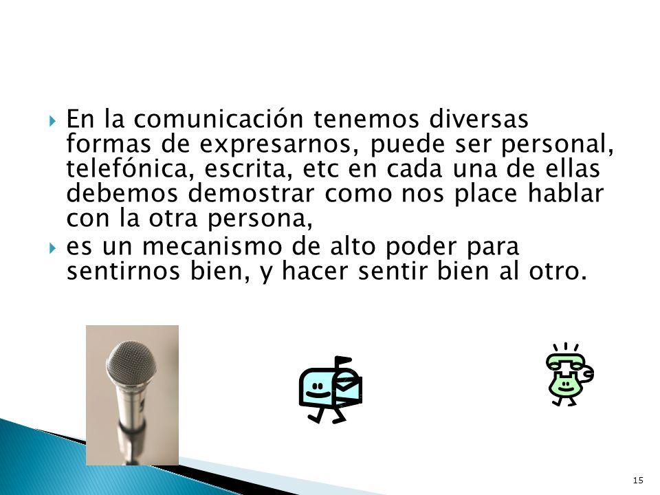 En la comunicación tenemos diversas formas de expresarnos, puede ser personal, telefónica, escrita, etc en cada una de ellas debemos demostrar como no