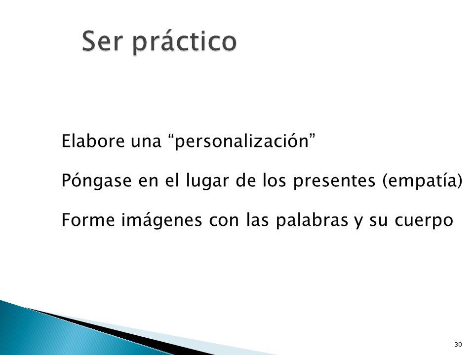 Elabore una personalización Póngase en el lugar de los presentes (empatía) Forme imágenes con las palabras y su cuerpo 30