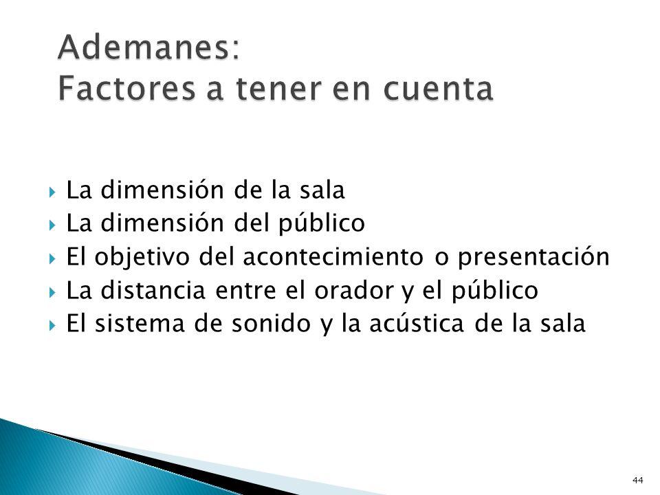 La dimensión de la sala La dimensión del público El objetivo del acontecimiento o presentación La distancia entre el orador y el público El sistema de