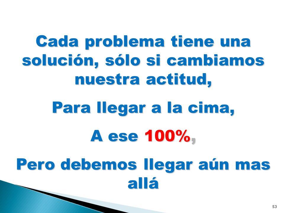 Cada problema tiene una solución, sólo si cambiamos nuestra actitud, Para llegar a la cima, A ese 100%, Pero debemos llegar aún mas allá 53