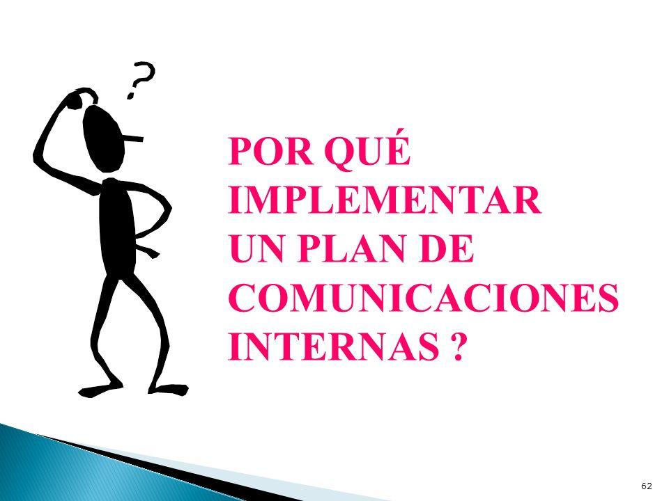 POR QUÉ IMPLEMENTAR UN PLAN DE COMUNICACIONES INTERNAS ? 62