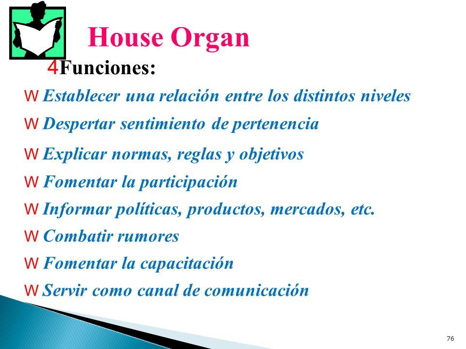 House Organ 4 Funciones: W Establecer una relación entre los distintos niveles W Despertar sentimiento de pertenencia W Explicar normas, reglas y obje