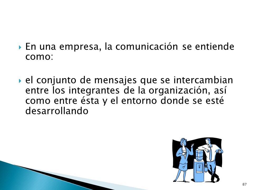 En una empresa, la comunicación se entiende como: el conjunto de mensajes que se intercambian entre los integrantes de la organización, así como entre