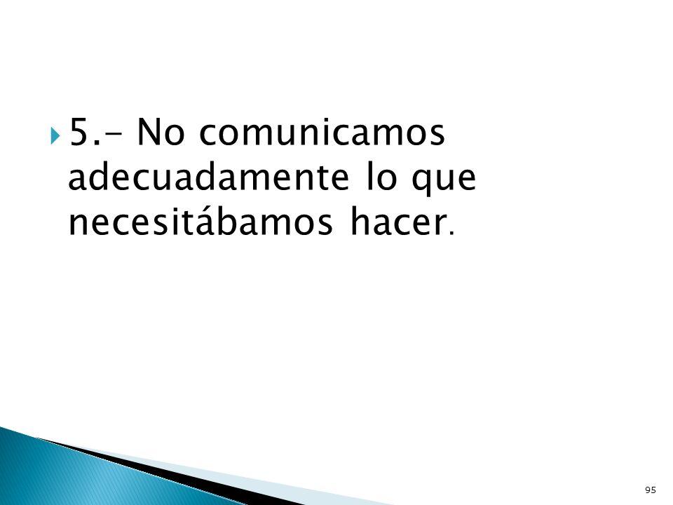 5.- No comunicamos adecuadamente lo que necesitábamos hacer. 95