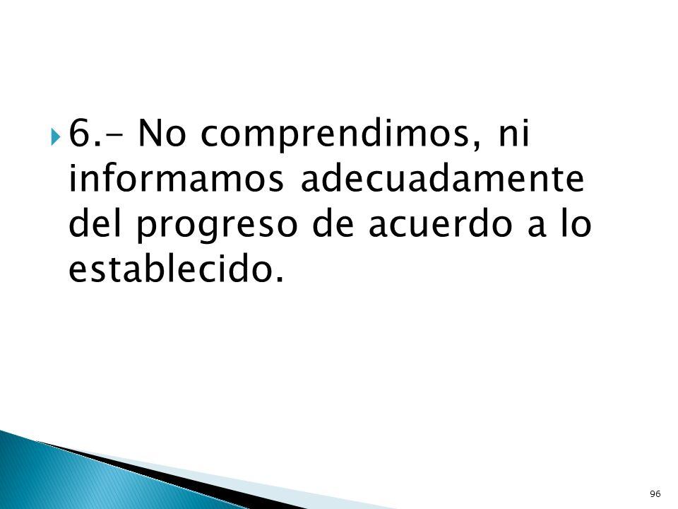 6.- No comprendimos, ni informamos adecuadamente del progreso de acuerdo a lo establecido. 96