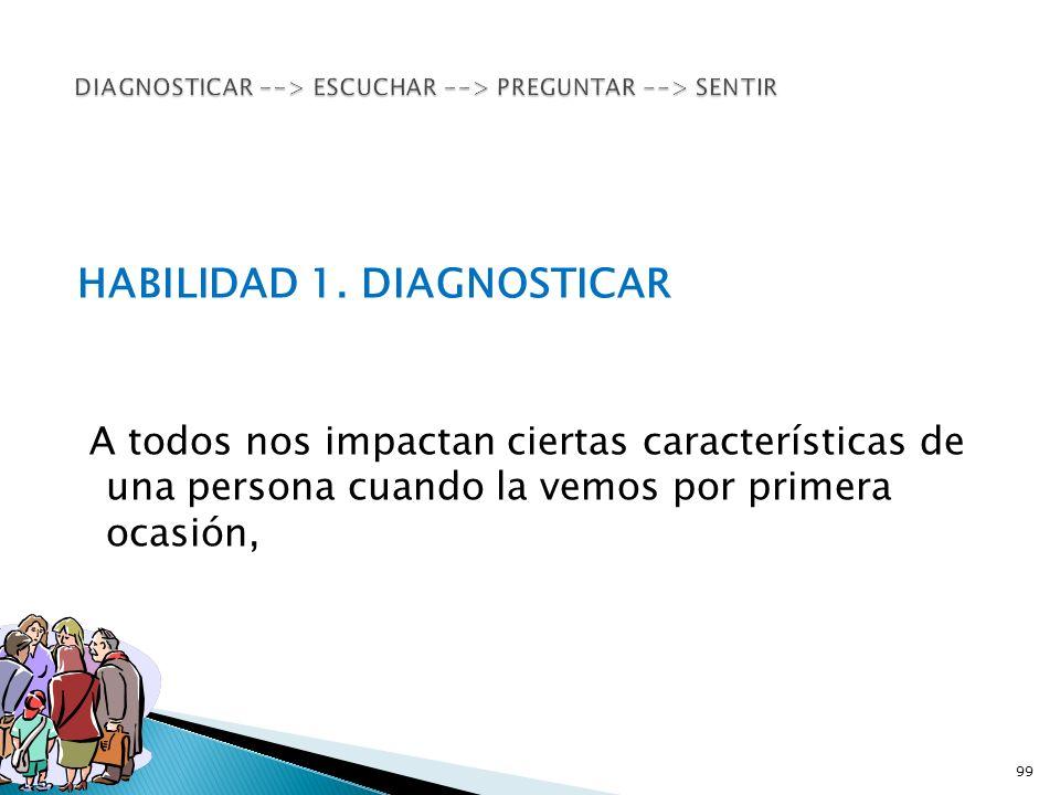 HABILIDAD 1. DIAGNOSTICAR A todos nos impactan ciertas características de una persona cuando la vemos por primera ocasión, 99