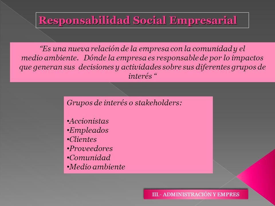 III.- ADMINISTRACIÓN Y EMPRES Responsabilidad Social Empresarial Es una nueva relación de la empresa con la comunidad y el medio ambiente. Dónde la em