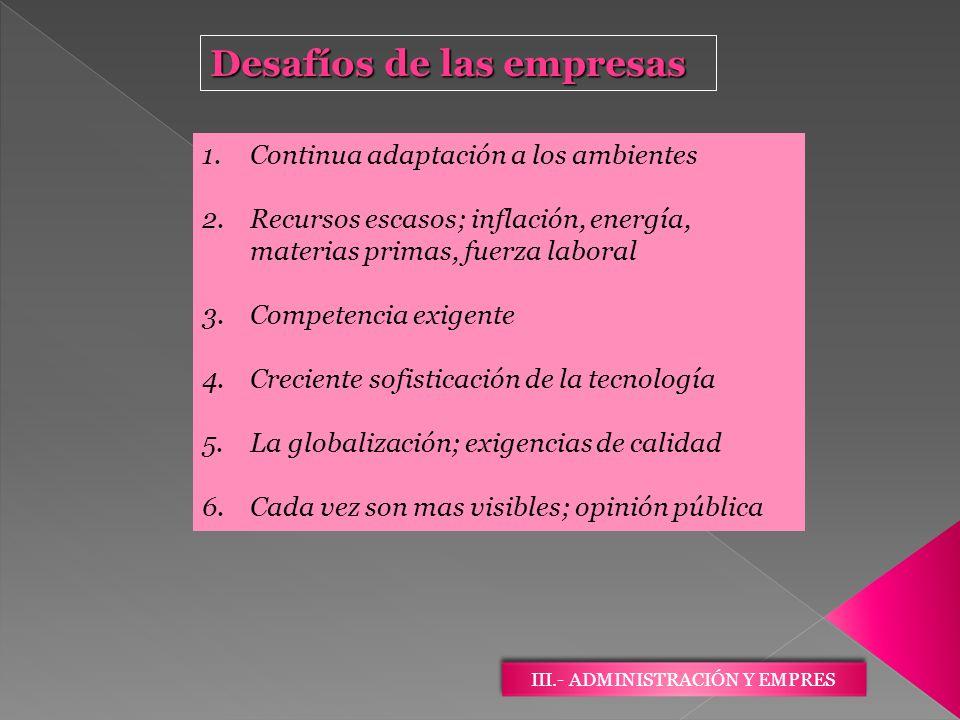III.- ADMINISTRACIÓN Y EMPRES Desafíos de las empresas 1.Continua adaptación a los ambientes 2.Recursos escasos; inflación, energía, materias primas,