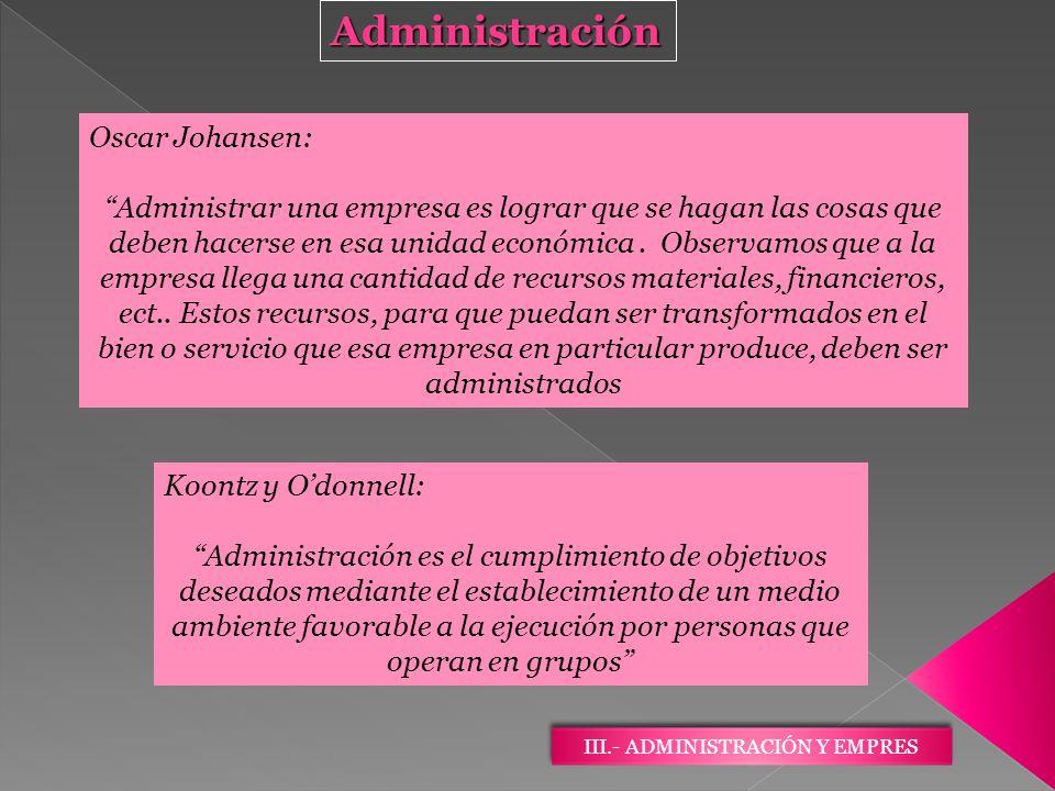 III.- ADMINISTRACIÓN Y EMPRES Administración Oscar Johansen: Administrar una empresa es lograr que se hagan las cosas que deben hacerse en esa unidad