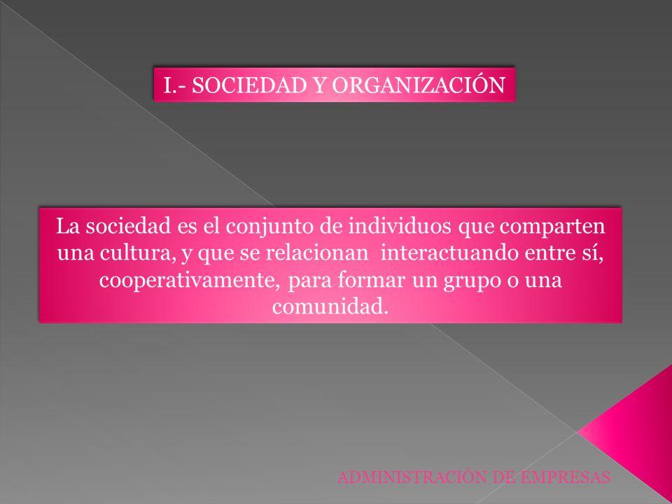ADMINISTRACIÓN DE EMPRESAS La sociedad es el conjunto de individuos que comparten una cultura, y que se relacionan interactuando entre sí, cooperativa