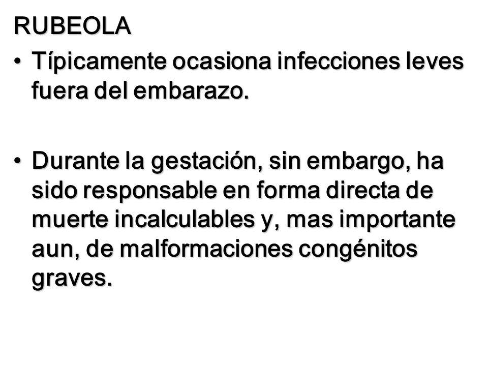 RUBEOLA Típicamente ocasiona infecciones leves fuera del embarazo.Típicamente ocasiona infecciones leves fuera del embarazo. Durante la gestación, sin