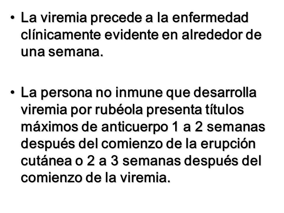 La viremia precede a la enfermedad clínicamente evidente en alrededor de una semana.La viremia precede a la enfermedad clínicamente evidente en alrede