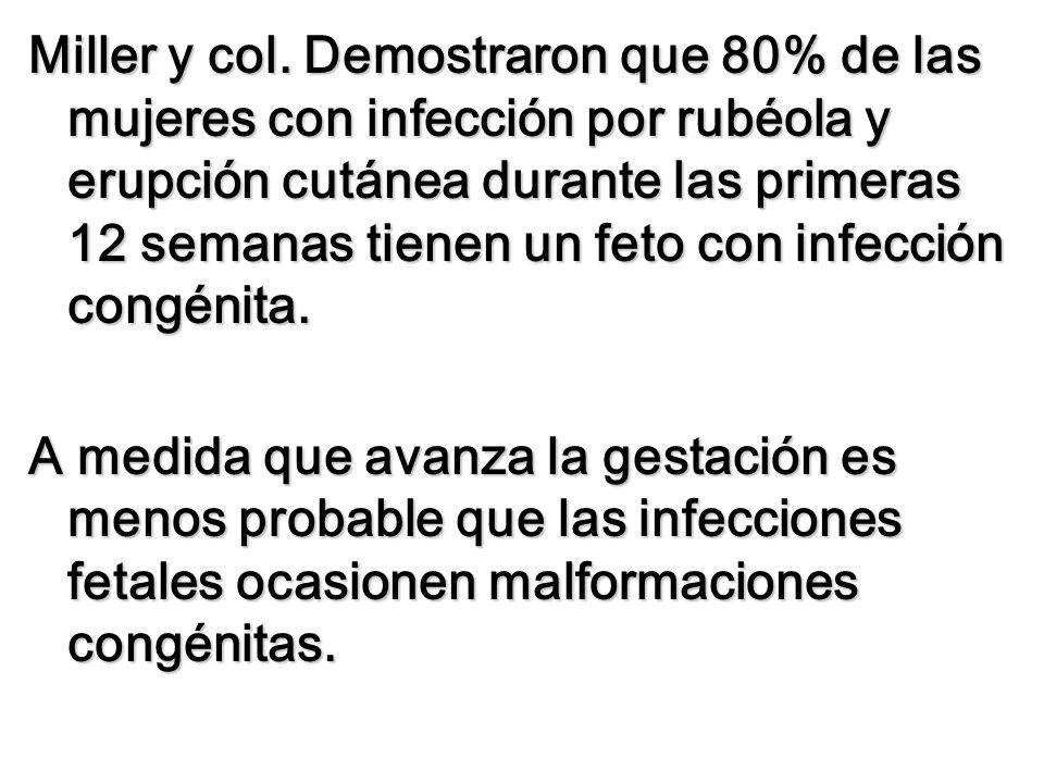 Miller y col. Demostraron que 80% de las mujeres con infección por rubéola y erupción cutánea durante las primeras 12 semanas tienen un feto con infec