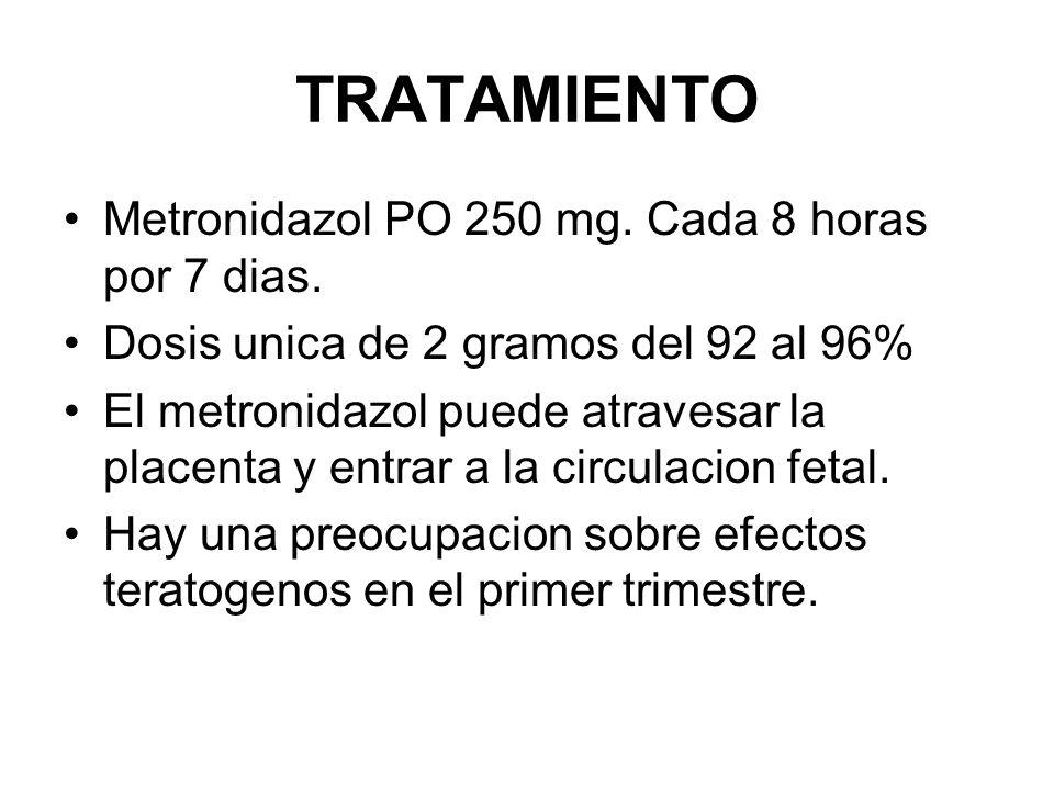 TRATAMIENTO Metronidazol PO 250 mg. Cada 8 horas por 7 dias. Dosis unica de 2 gramos del 92 al 96% El metronidazol puede atravesar la placenta y entra