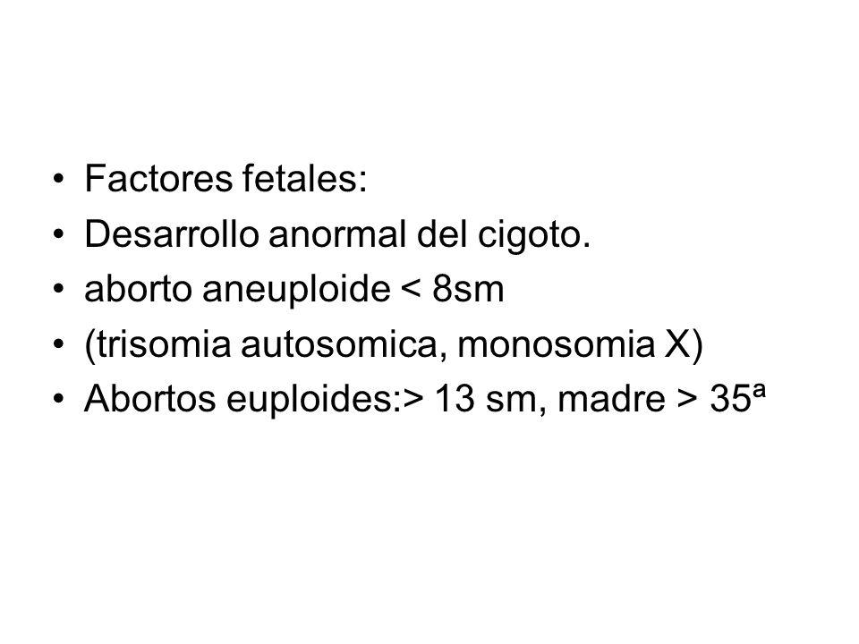 Factores fetales: Desarrollo anormal del cigoto. aborto aneuploide < 8sm (trisomia autosomica, monosomia X) Abortos euploides:> 13 sm, madre > 35ª