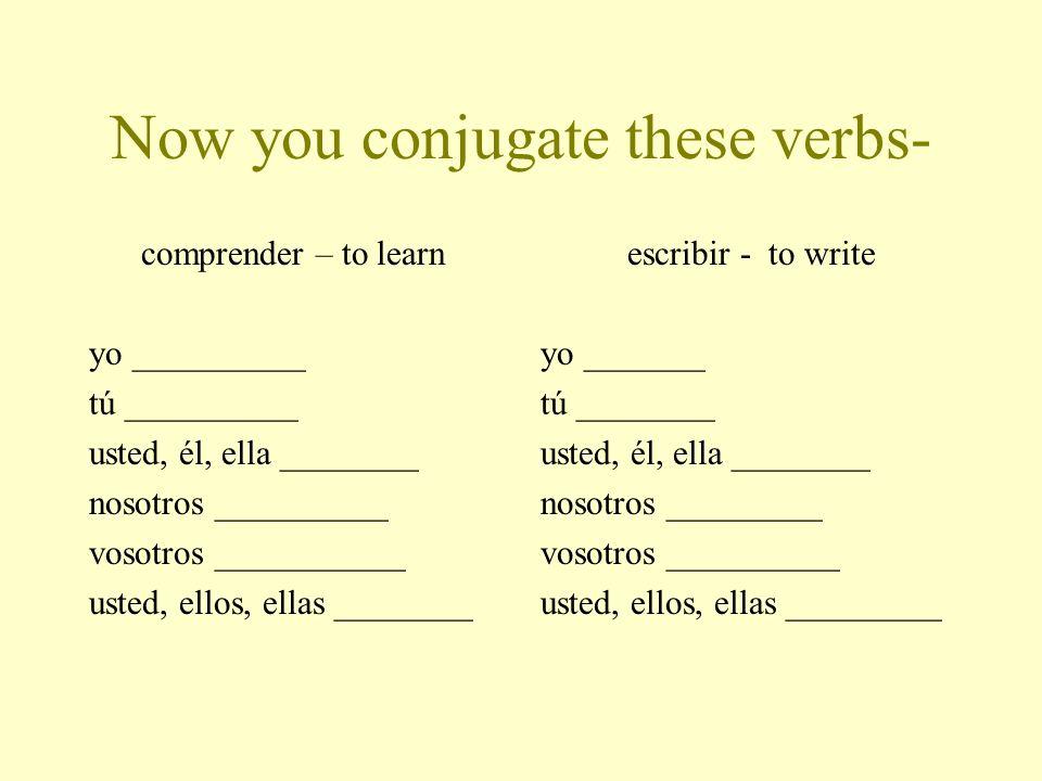 Now you conjugate these verbs- comprender – to learn yo __________ tú __________ usted, él, ella ________ nosotros __________ vosotros ___________ usted, ellos, ellas ________ escribir - to write yo _______ tú ________ usted, él, ella ________ nosotros _________ vosotros __________ usted, ellos, ellas _________