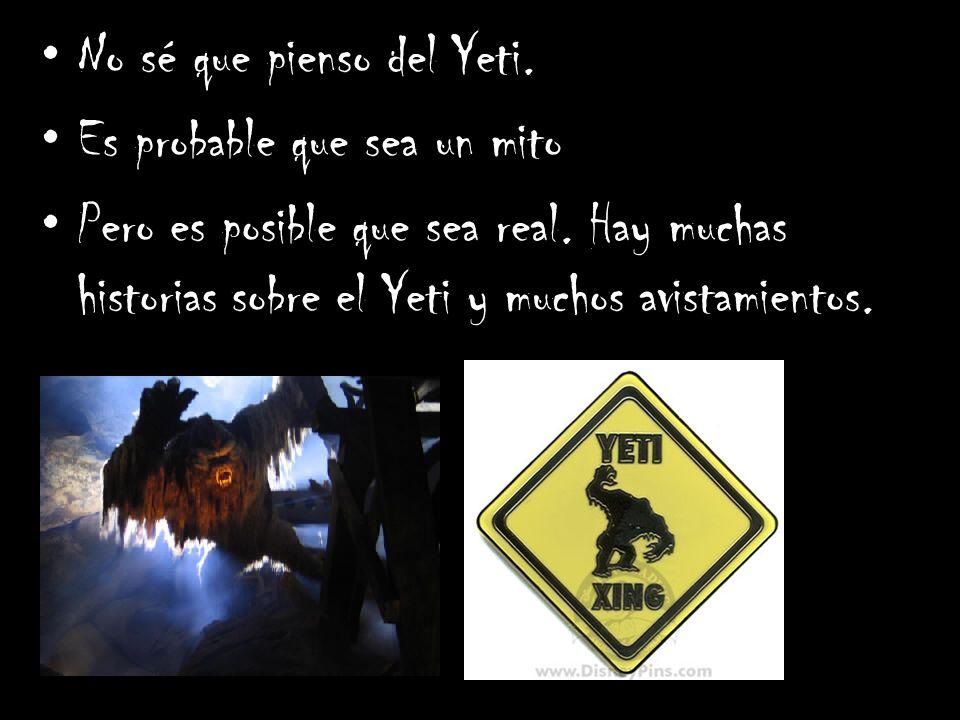 No sé que pienso del Yeti. Es probable que sea un mito Pero es posible que sea real. Hay muchas historias sobre el Yeti y muchos avistamientos.