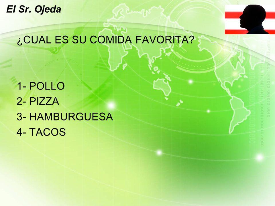 LOGO El Sr. Ojeda ¿CUAL ES SU COMIDA FAVORITA 1- POLLO 2- PIZZA 3- HAMBURGUESA 4- TACOS