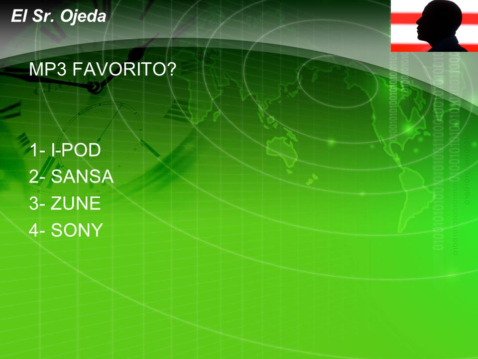 LOGO MP3 FAVORITO? 1- I-POD 2- SANSA 3- ZUNE 4- SONY El Sr. Ojeda