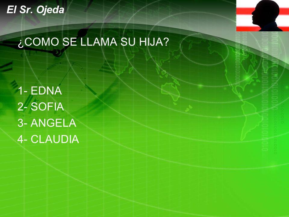 LOGO ¿COMO SE LLAMA SU HIJA 1- EDNA 2- SOFIA 3- ANGELA 4- CLAUDIA El Sr. Ojeda