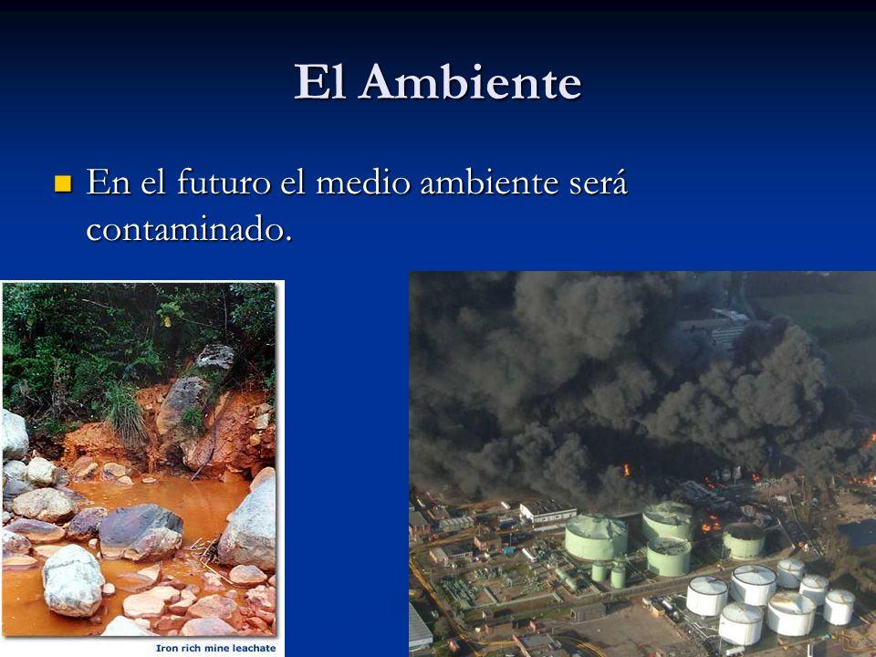 El Ambiente En el futuro el medio ambiente será contaminado. En el futuro el medio ambiente será contaminado.