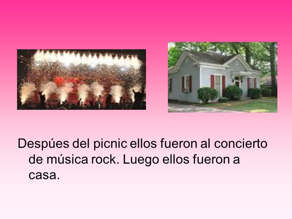 Despúes del picnic ellos fueron al concierto de música rock. Luego ellos fueron a casa.